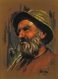 untitled - man with green cap by harley brown