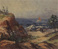 coastal scene with ship by g.w. hill