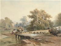 an italianate landscape with figures on a jetty by a river by richard principal leitch
