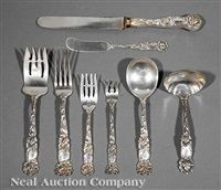 flatware service in bridal rose pattern (set of 44) by alvin corp.