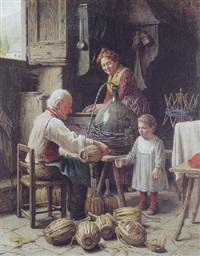 den lille pige får lov til at smage på den nyaftappede vin by giovanni sandrucci