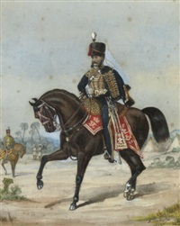 portrait of an officer of the 3rd hussars (+ portrait of an officer; pair) by richard simkin