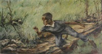 young boy in wooded landscape by william freinik