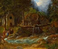 waldkapelle am gebirgsbach by gustav reinhold