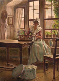 woman seated at a window with bird cage by edouard gelhay