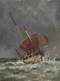 segelboot auf stürmischer see by jacob willem gruyter