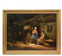 woman pouring wine for a traveler at her cottage door by george morland