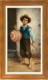 italian boy with lamp by l. vagano