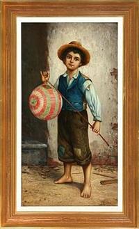 italian boy with lamp by l. vagano