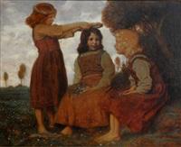 drei junge mädchen by fritz rehm