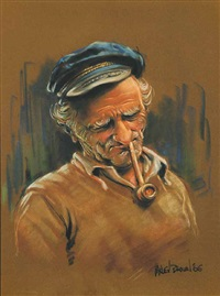 untitled - man with blue cap by harley brown