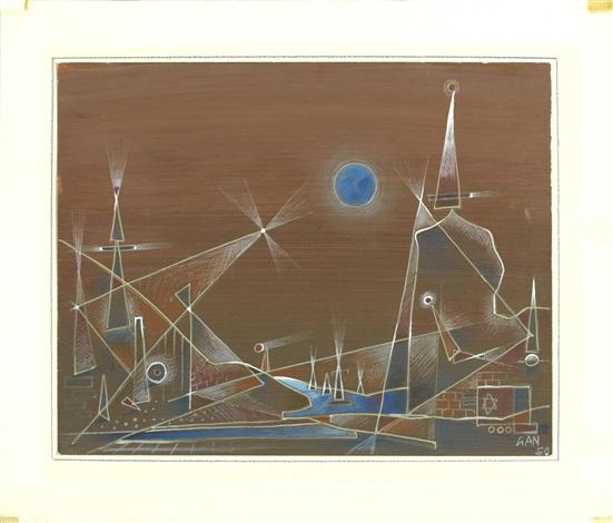 geometriskt landskap i blått by gösta gan adrian nilsson