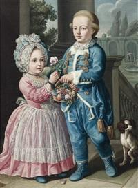 kinder mit hündchen und einem früchtekorb by sebastiano ceccarini