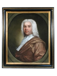 portrait of a gentleman in a grey wig, white stock and gold cloak by andrea soldi