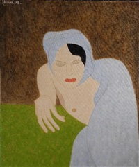 femme au voile bleu by arthur hurni