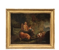 farmer and daughter with dog at pig's trough by george morland