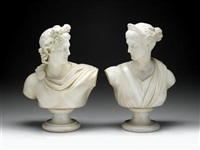apollo - after the antique (+ diana; pair) by pietro barzanti
