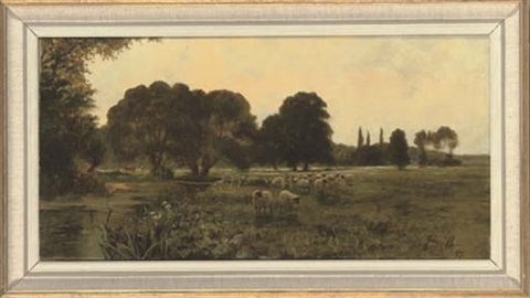 a flock of sheep beside a river by sidney pike