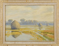 marsh with haystacks. trees in the distance. by george w. picknell