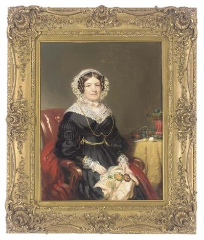 portrait of a lady in a black dress with lace trim by william jnr patten