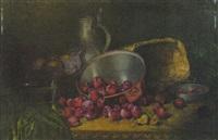 stilleben mit pflaumen in einer kupferschüssel neben einer glasschale mit früchten, zinnkrug und korb by august herrmann allgau