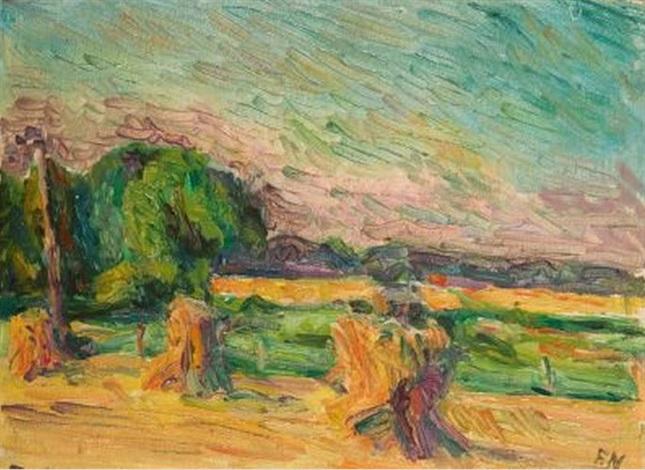 landschaft mit kornhocken by franz nespethal