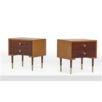 two-drawer side tables (no. 464-393) (pair) by paul t. frankl