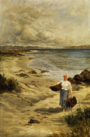 junge frau mit körben am strand bei rimini by frederick william jackson