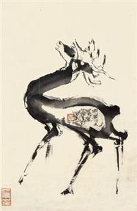 鹿 镜框 水墨纸本 by cheng shifa