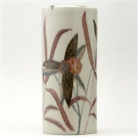 cylindrical vase (painted by william hentschel) by kenton hills