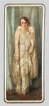 dame im seidenkleid (portrait de mme. r) by gustave valerian
