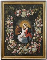 die heilige familie in einem kranz aus blumen und früchten by philippe de marlier