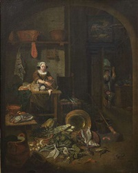 vorratskammer mit küchenmagd, die ihre einkäufe auf einem tisch ausbreitet by pieter angeli