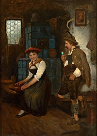 tändelndes paar in einer stube: zitherspielerin und fescher junger mann by maximilian wachsmuth