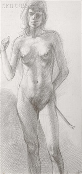 standing nude with a crow bar by sam ames