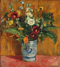 still life with flowers in a vase by paul hom