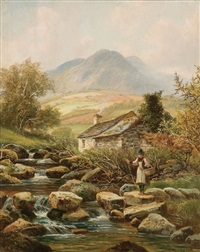 crossing the stream by albert dunington