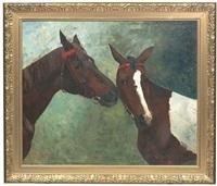 portraits der beiden pferde tiinder und bajadeye by prinzessin pauline von württemberg