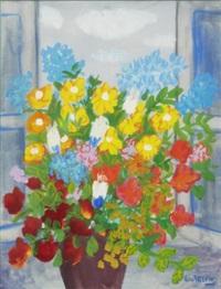 stilleben med blommor i krus by lennart jirlow