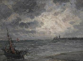 künstlandschaft bei aufkommendem wetter im vordergrund ein fischerboot by jan van de venne
