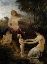 drei badende mädchen mit einem knäblein am wasserufer in landschaft by hobbe smith