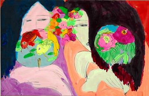 women with flowers by walasse ting