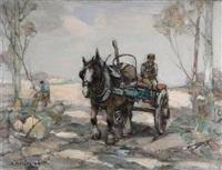woodmen and logging cart in a landscape by arthur macdonald