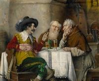 zwei mönche und ein musketier im weinkeller by lajos koloszvary
