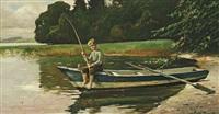 junge beim angeln by friedrich (fritz) raupp