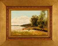 landscape with two children playing on a field by olof krumlinde