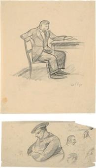 disegni raffiguranti figure (2 works) by arrigo del rigo