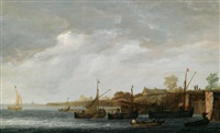 fischerboote vor einer holländischen kanalschleuse by maerten fransz van der hulst