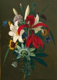 stillleben mit lilien und passionsblume by adolf (carl) senff