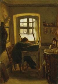 der kupferstecher in seinem atelier by a. goebel